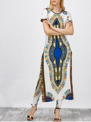 Fashion High Slit Africa Print Robe Dress with Pants WHITE S