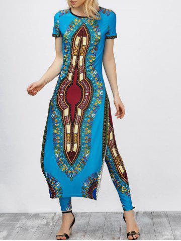 High Slit Africa Print Robe Dress with Pants - Oasis - M