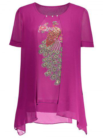 Embroidered Sequin Plus Size Top - Rose Madder - 3xl