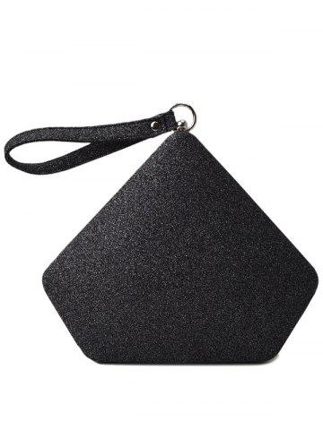 Hot Glitter Geometric Sequin Evening Bag - BLACK  Mobile