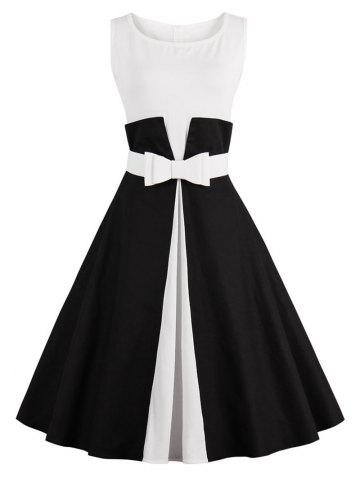 Affordable Color Block Cocktail Pin Up Dress BLACK L
