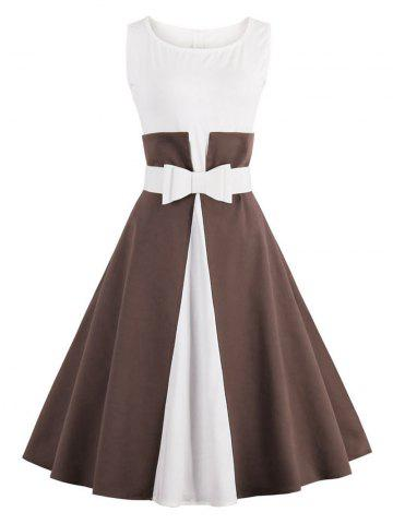 Affordable Color Block Cocktail Pin Up Dress COFFEE S
