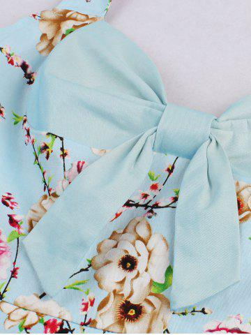 Trendy Halter Neck Floral Pin Up A Line Dress - CLOUDY L Mobile
