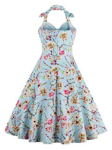 Trendy Halter Neck Floral Pin Up A Line Dress - CLOUDY 2XL Mobile