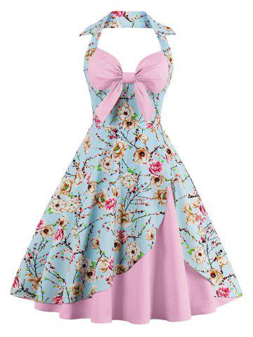 Latest Halter Neck Floral Pin Up A Line Dress PINK S