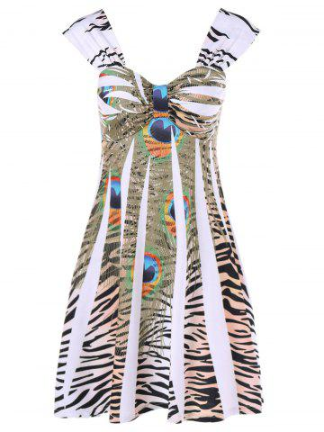 Leopard Peacock Feather Daytime Cap Dress - White - M