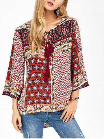 Sale Tassel Retro Print High Low Long Top