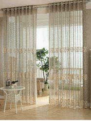 Flower Embroidery Sheer Grommet Top Tulle Curtain