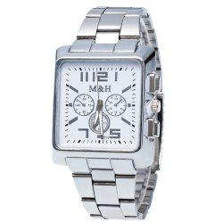 Metallic Strap Square Analog Watch - WHITE