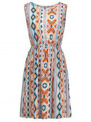 Stretch Waist Aztec Print Sleeveless Sundress