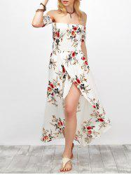 Off Shoulder Floral Chiffon Split Maxi Beach Dress -