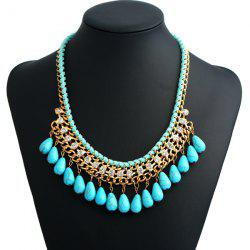 Bohemian Artificial Turquoise Teardrop Costume Necklace