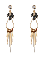 Faux Gem Teardrop Fringed Drop Earrings
