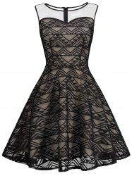 Sheer Mesh Panel Skater Sleeveless Lace Top Prom Dress