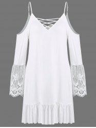 Crochet Trim Flounced Casual Mini Dress With Sleeves