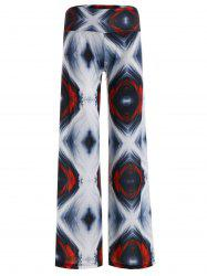 Abstract Print Elastic Waist Wide Leg Pants