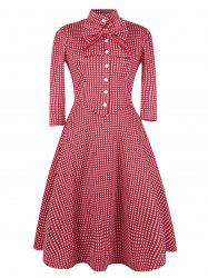 Bowknot Embellished Plaid Vintage Dress