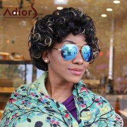 Adiors Short Curled Hairstyle Highlight Afro Synthetic Wig