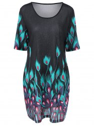 Plus Size Peacock Print Casual Shift Dress