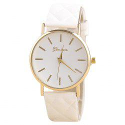 Minimalist Faux Leather Analog Wrist Watch - WHITE