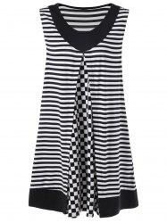 Plus Size Stripe Long Sleeveless T-Shirt