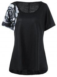 Plus Size Chiffon Panel High Low 3D Flower T-Shirt