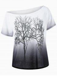 Skew Collar Tree Print Ombre T-Shirt