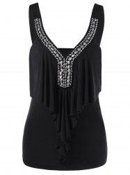 Sleeveless Drape Front Tank Top with Bead