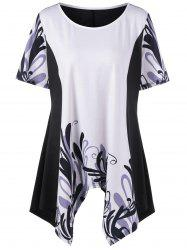 Graphic Plus Size Asymmetrical Longline T-Shirt