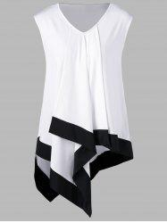 Plus Size Asymmetrical Longline V Neck T-Shirt - WHITE AND BLACK