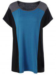 Color Block Shift Plus Size Longline T-Shirt