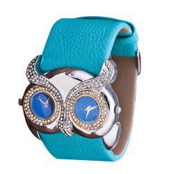 Rhinestone Owl Double Movement Analog Watch - AZURE
