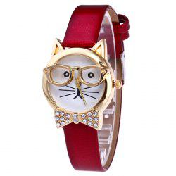 Rhinestone Cat With Glasses Analog Watch - RED