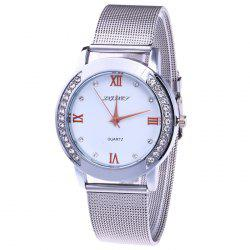 Steel Mesh Band Rhinestone Analog Watch