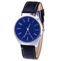 Faux Leather Strap Analog Number Watch -