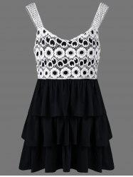 Lace Crochet Plus Size Babydoll Tank Tops - WHITE AND BLACK