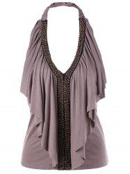 Halter Beaded Ruffle Top