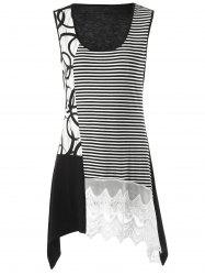 Striped Lace Insert Tunic Tank Top