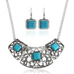 Floral Hollow Out Faux Turquoise Jewelry Set