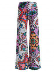 High Rise Allover Print Wide Leg Palazzo Pants