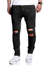 Distressed Zipper Fly Narrow Feet Pants - BLACK