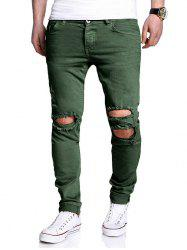Distressed Zipper Fly Narrow Feet Pants - GREEN