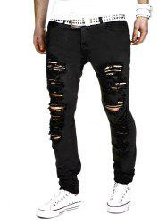 Zipper Fly Holes Design Narrow Feet Pants - BLACK