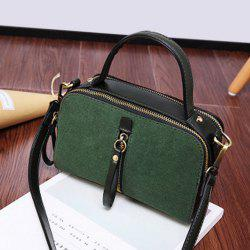 Zips Detail Suede Insert Cross Body Bag