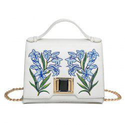 Embroidered Flap Handbag with Chains - WHITE