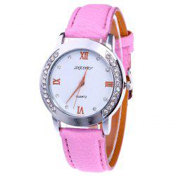 Rhinestone Faux Leather Strap Analog Watch