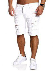 Zipper Fly Straight Leg Distressed Shorts - WHITE