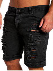 Zipper Fly Straight Leg Distressed Shorts - BLACK