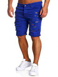 Zipper Fly Straight Leg Distressed Shorts - SAPPHIRE BLUE L