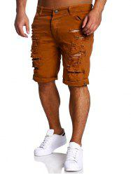 Zipper Fly Straight Leg Distressed Shorts